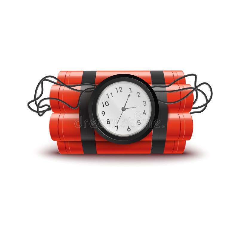 Explosiva röda dynamitpinnar med klockan och trådar royaltyfri illustrationer