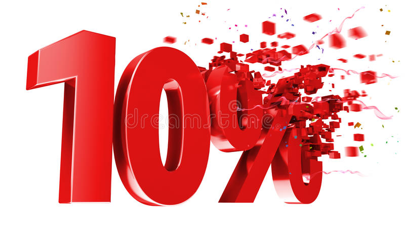 Explosive 10 percent off on white background vector illustration