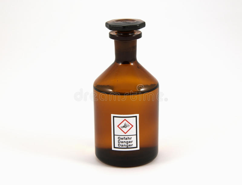 Explosive. The image shows a chemical flask with the new GHS-Icon Explosive on it stock images