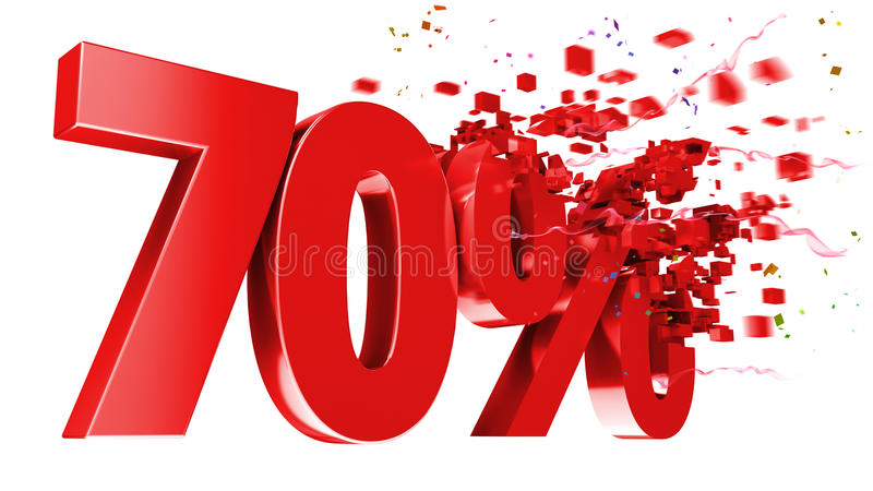 Explosive 70 percent off on white background royalty free illustration