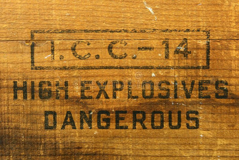 Explosive Box. Wood High explosive Dangerous Box Label royalty free stock images
