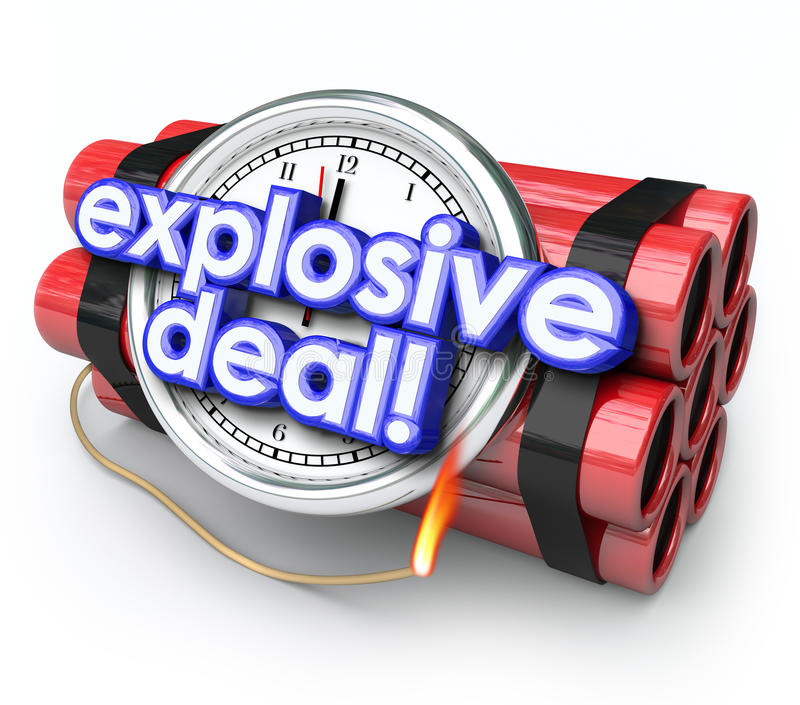 Explosive Deals Bomb Dynamite Special Sale Clearance Price stock illustration