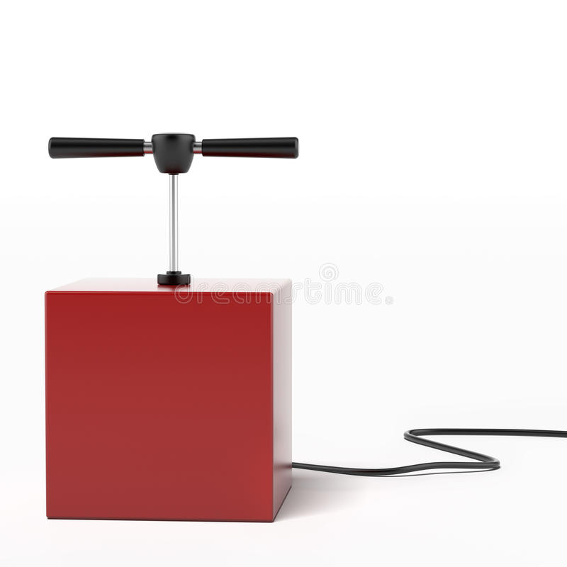 Explosive detonator. Isolated on a white background. 3d render stock photography