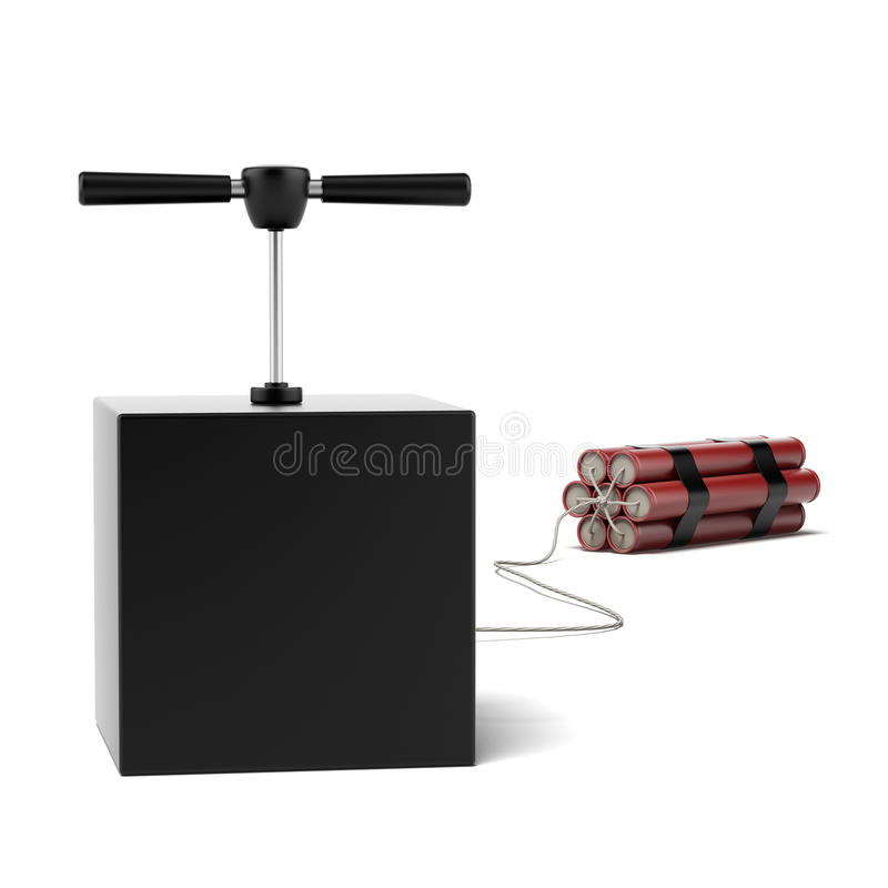 Explosive Dynamite. Isolated on a white background. 3d render stock photography