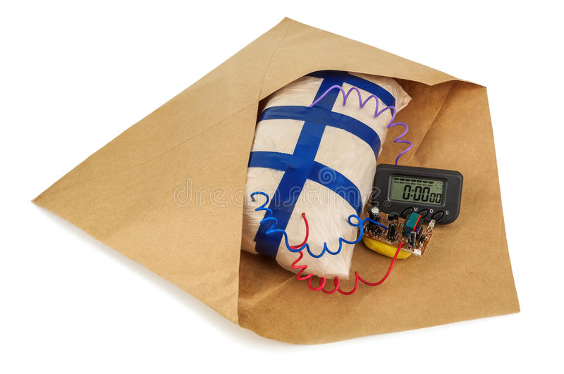 Explosives in an envelope stock images