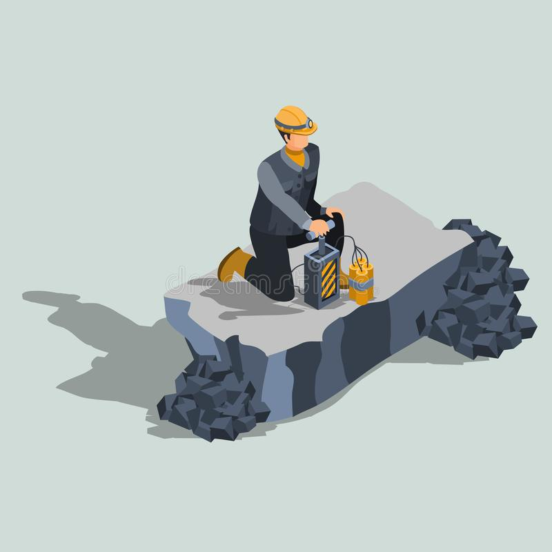 Industrial blaster expert isometric vector. Explosives worker, ordnance handling expert, constriction or quarry blaster in protective helmet, standing on a knee stock illustration