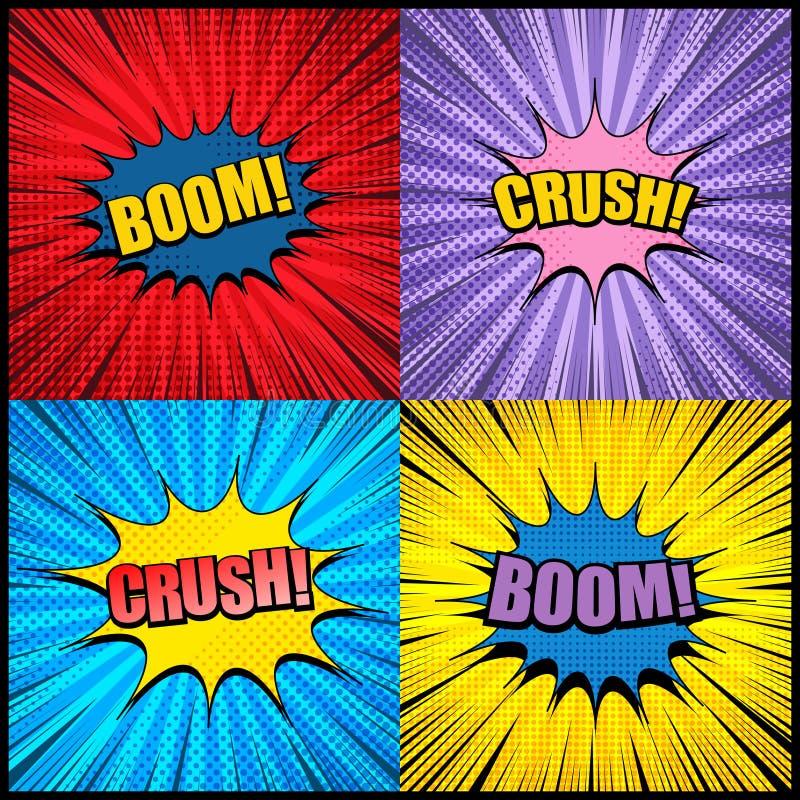 Explosivo de las páginas y colección cómicos de la explosión stock de ilustración