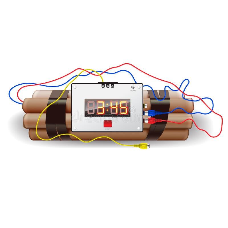 Explosivos con el reloj de alarma, en blanco libre illustration