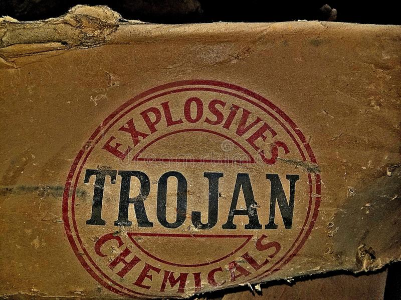 Explosivos troyanos de las sustancias químicas imagen de archivo