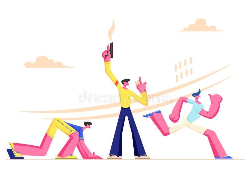 Explosivt starta på körande konkurrens för sport Idrottsman nenSprinter Runner Sportsmen tecken kör maraton, sprintar loppet stock illustrationer