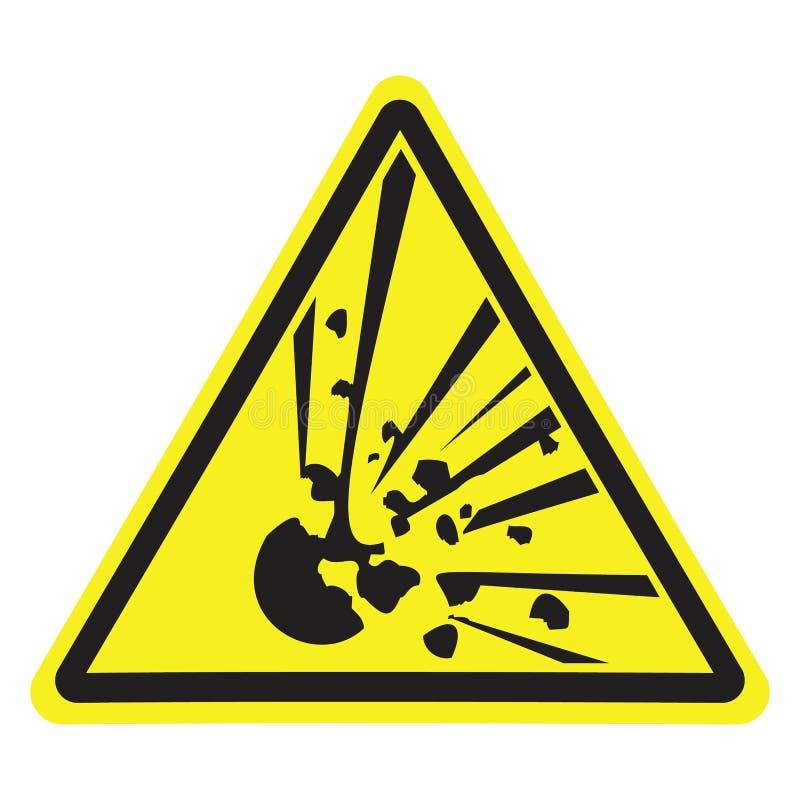 explosivt Varningsfara Gul triangel Tecken för collage på vit bakgrund royaltyfri illustrationer