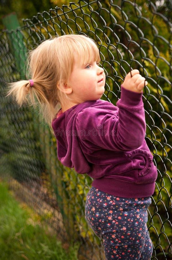 Explotación agrícola de la muchacha sobre la cerca foto de archivo