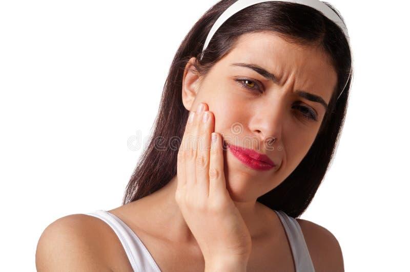 Explotación agrícola de la muchacha su barbilla - dolor de muelas - dolor foto de archivo libre de regalías