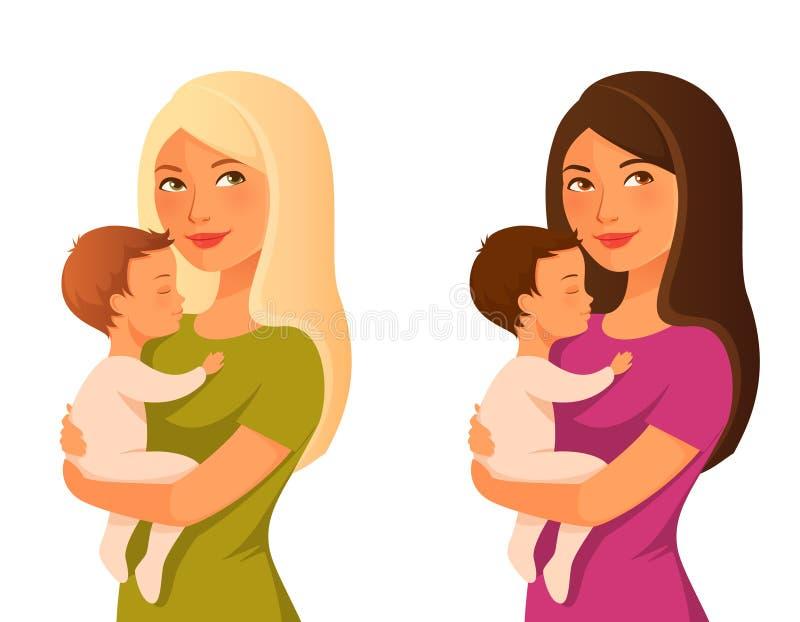 Explotación agrícola joven de la madre su bebé ilustración del vector