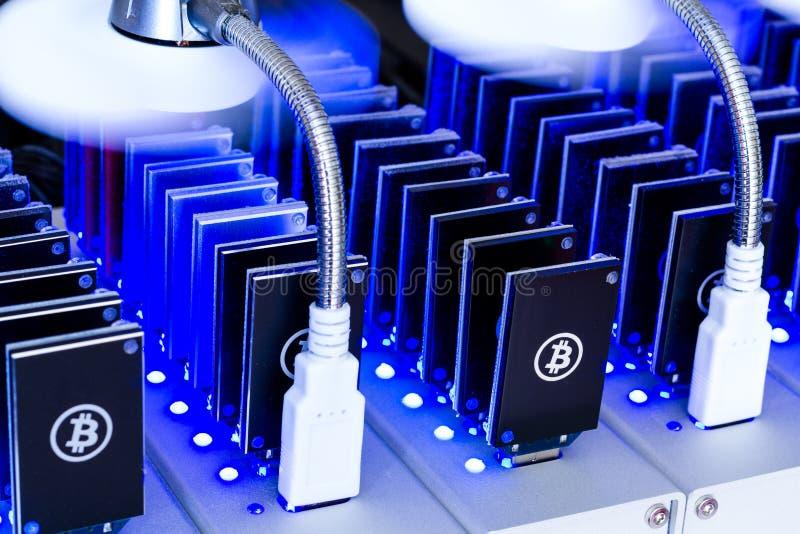Explotación minera de Bitcoin foto de archivo libre de regalías