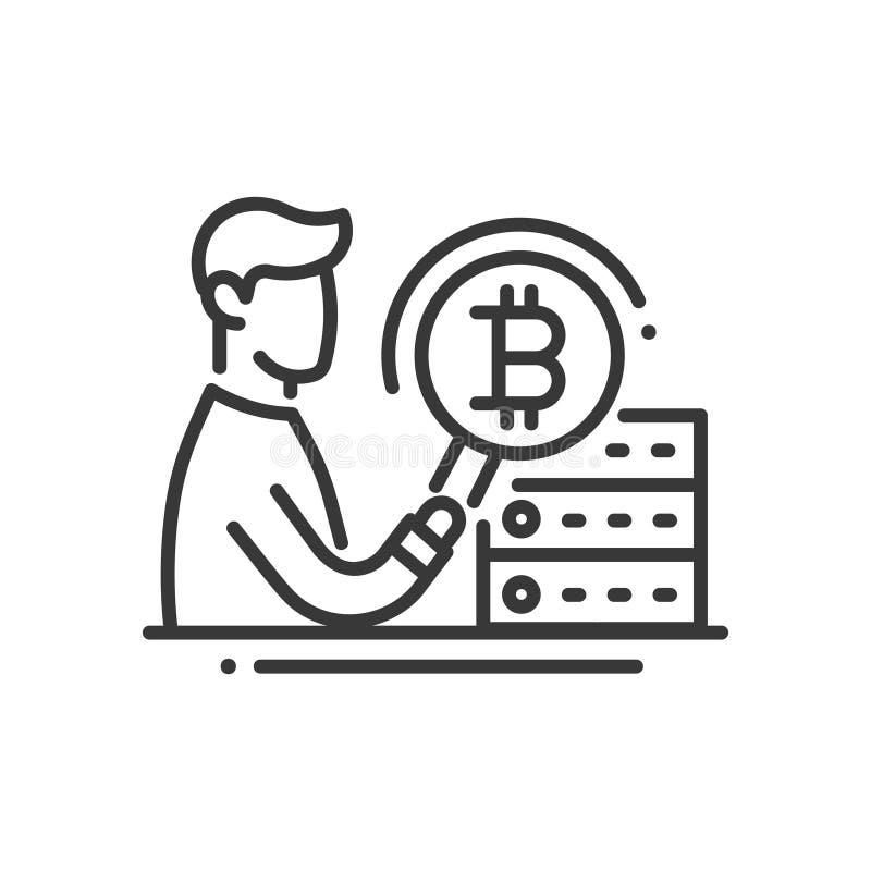 Explotación minera de Bitcoin - alinee el solo icono aislado del diseño libre illustration