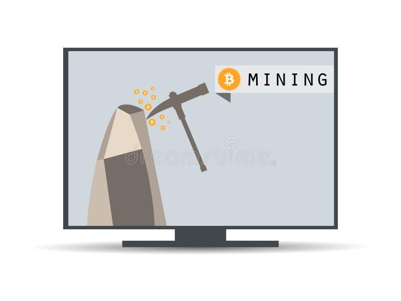 Explotación minera de Bitcoin Equipo minero de Bitcoin Cálculo de la explotación minera de Bitcoin stock de ilustración