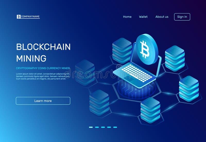 Explotación minera de Blockchain La criptografía acuña al minero de la moneda en el ordenador portátil conectado con la red del b stock de ilustración