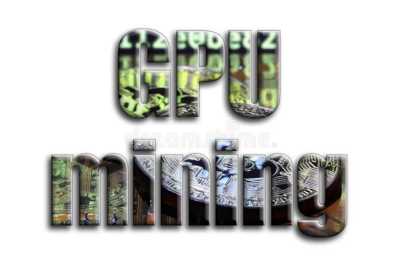 Explotación minera de GPU La inscripción tiene una textura de la fotografía, que representa varios bitcoins en un videocard del a ilustración del vector