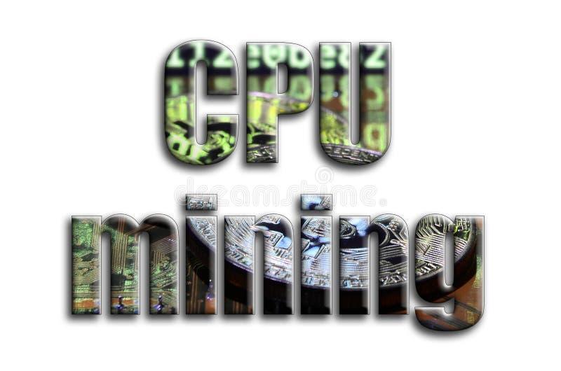 Explotación minera de la CPU La inscripción tiene una textura de la fotografía, que representa varios bitcoins en un videocard de ilustración del vector
