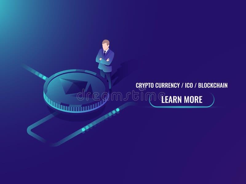 Explotación minera del cryptocurrency y concepto isométricos de la compra, inversión en la moneda crypto, estancia del hombre de  libre illustration