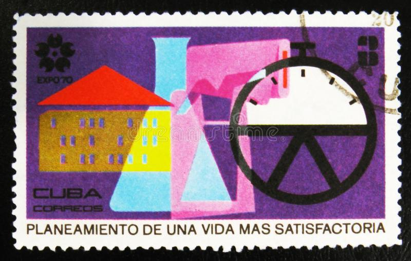 ` EXPO 70 παγκόσμια έκθεση, Οζάκα, Ιαπωνία ` με τον προγραμματισμό επιγραφής για μια ζωή πιό ικανοποιητική, circa 1970 στοκ εικόνες με δικαίωμα ελεύθερης χρήσης