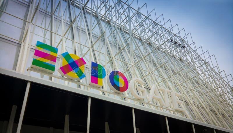 EXPO brama w w centrum Mediolan obraz stock
