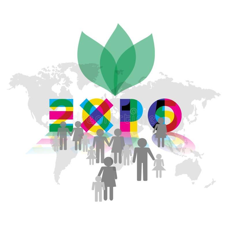 Expo 2015 com ilustração dos ícones dos visitantes