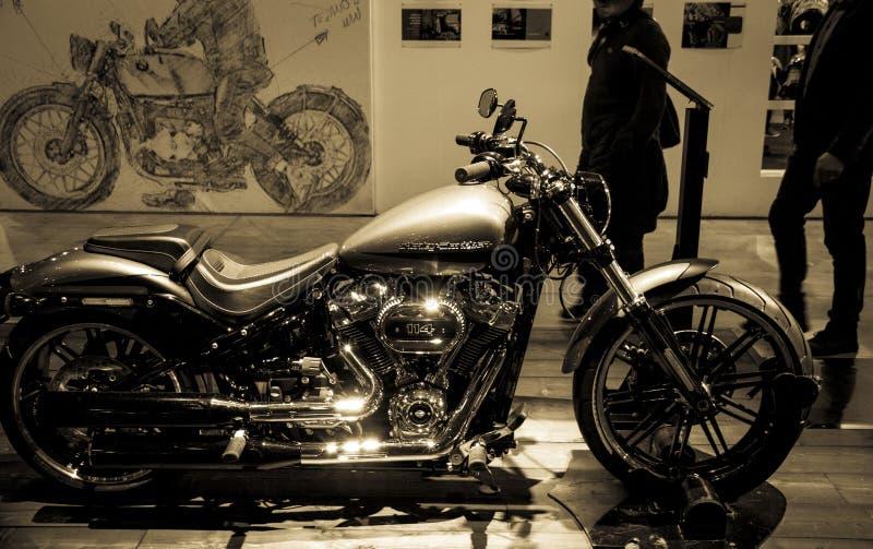 Expo de las motocicletas en la demostración Harley Davidson de Milán EICMA foto de archivo libre de regalías
