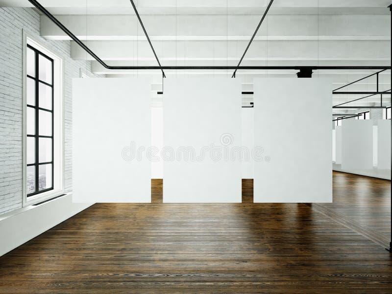 Expo do museu de arte moderna no interior do sótão Estúdio do espaço aberto Suspensão branca vazia da lona Assoalho de madeira, p foto de stock