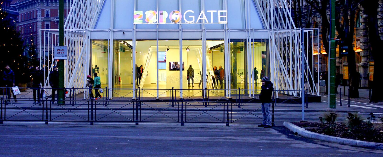 Expo gate in Milano 2015, temporary structure royalty free stock photography