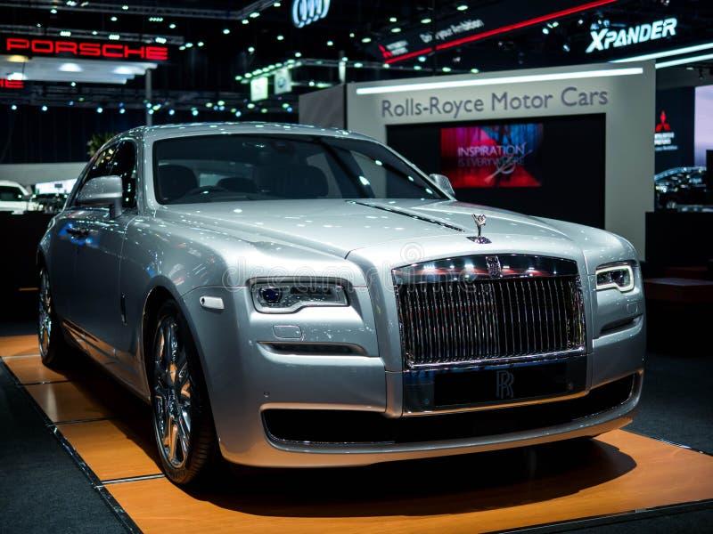 Expo internacional Banguecoque 2018 do motor de Tailândia - 23 de agosto de 2018: Apresentando à Rolls royce nova o carro luxuoso foto de stock