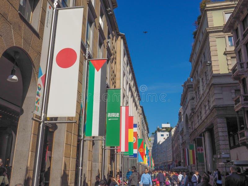 Expo Milano 2015 flags stock photo