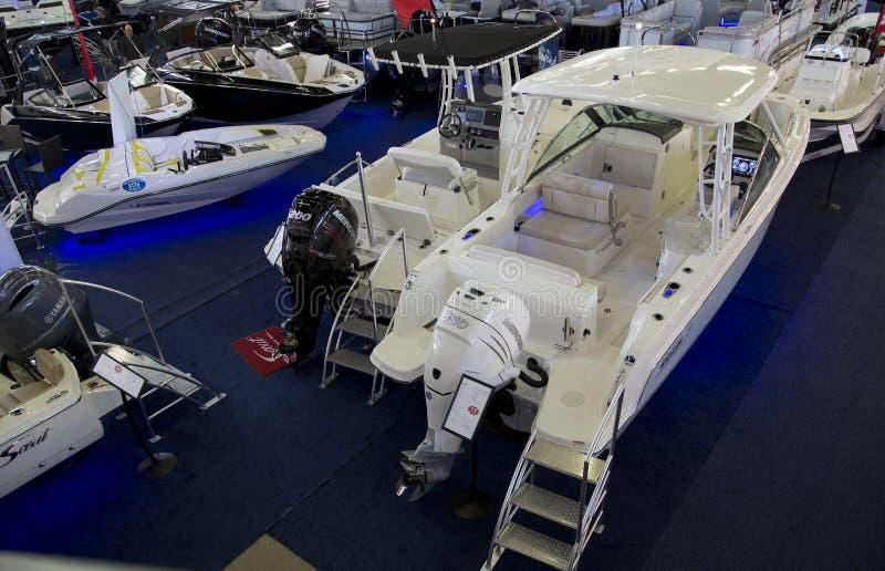 Expo piacevole della barca di inverno in città Dallas fotografia stock