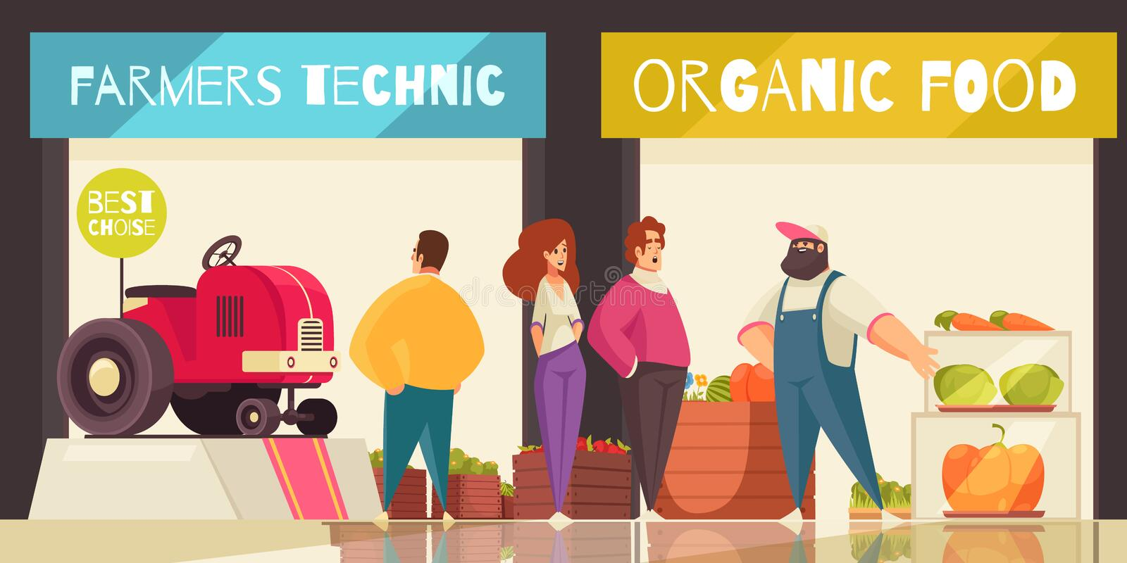 Expo Trade Stand Background. With farmers technic and organic food symbols flat vector illustration vector illustration