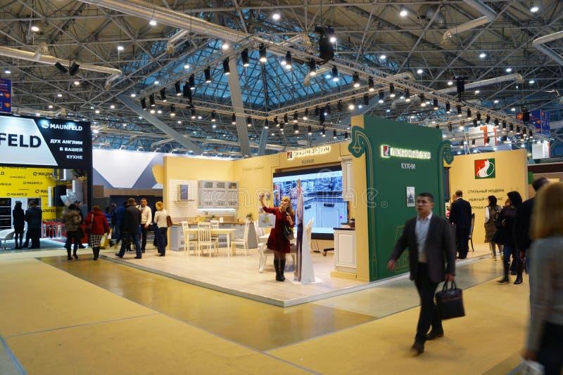 Expocentre, Moskou, Rusland - November 21, 2017 MEBEL 2017 - 29ste Internationaal Tentoonstellings` Meubilair, Montage en Stoffer stock fotografie