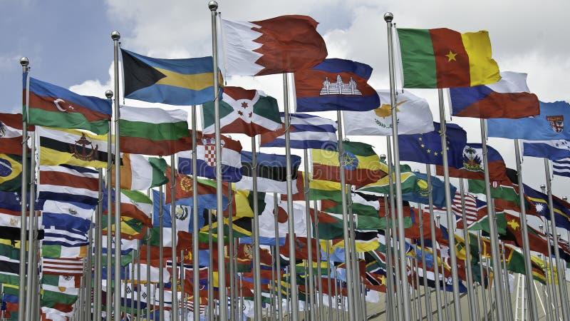 expoflaggor 2010 arkivbild