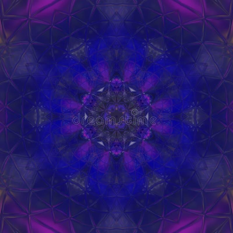 Expolosion azul de medianoche del fondo del modelo del kaleidoscop de la flor imagen de archivo libre de regalías