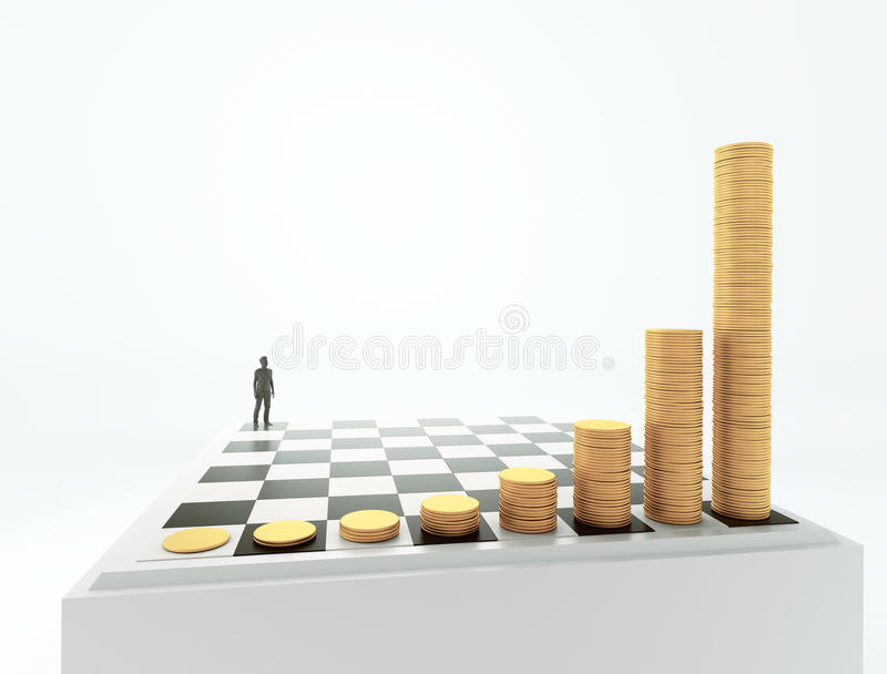 Exponential growth and compound interest concept. Tiny man standing on a chessboard with growing height coins stacks - exponential growth and compound interest vector illustration
