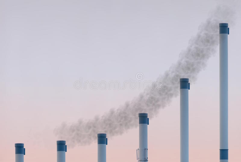 Exponential Pipes With Smoke royalty free stock photo