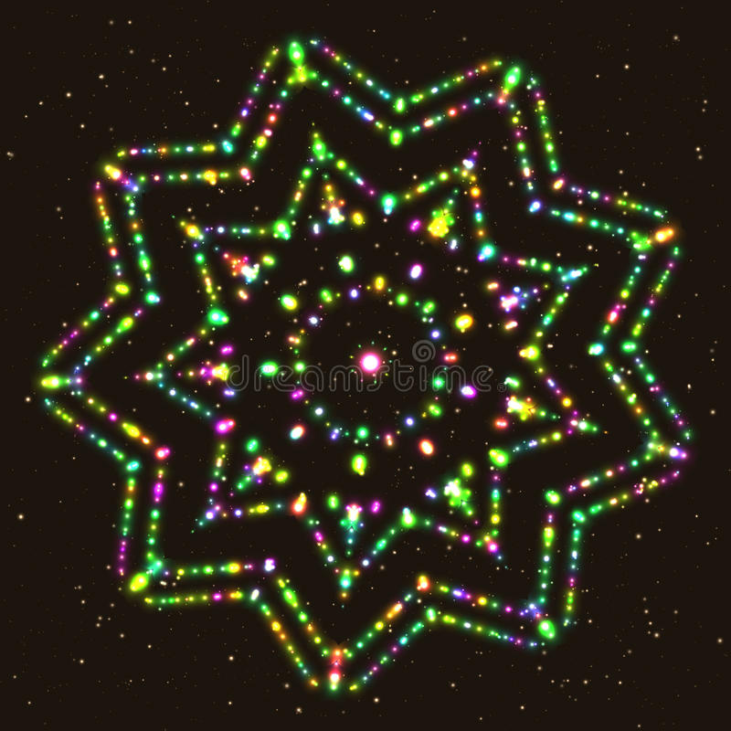 exponerad stjärna Geometriskt konturdiagram Polyhedron vektor illustrationer