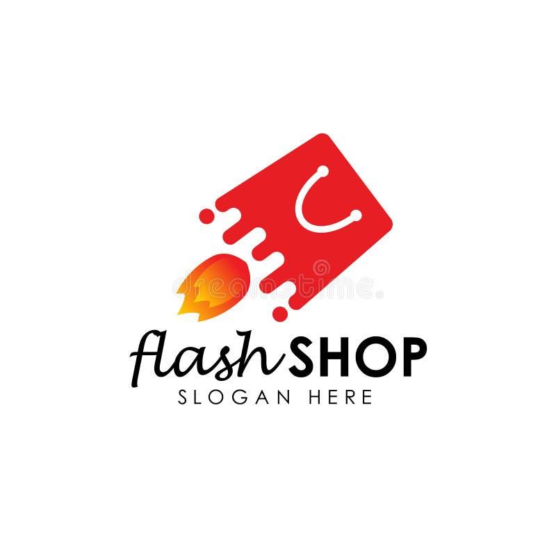 exponeringen shoppar logodesignmallen prålig försäljningsvektorillustration vektor illustrationer