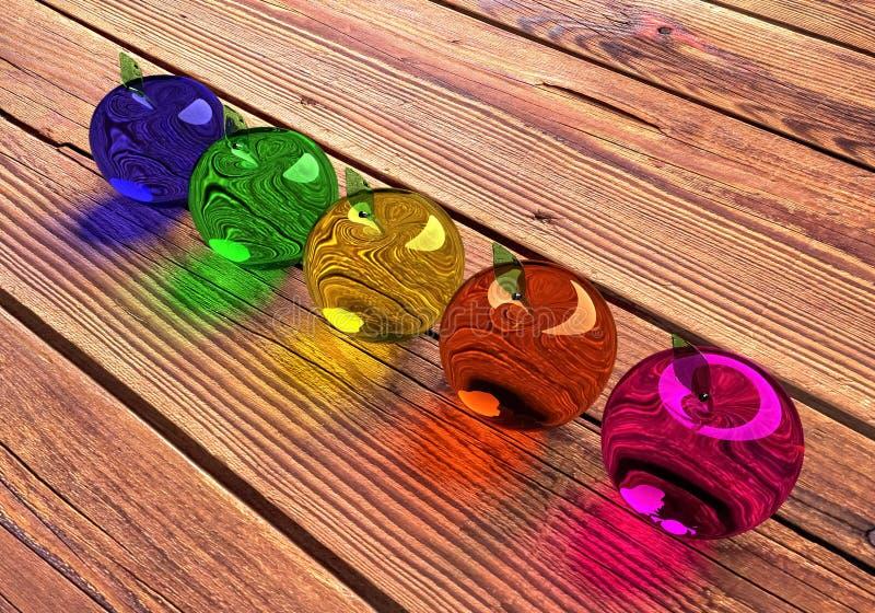 Exponeringsglas?pple, gl?dande ?pple, modell 3d F?rgrikt glas- ?pple Bl?a, gr?na, gula, orange och r?da ?pplen 3D royaltyfri bild
