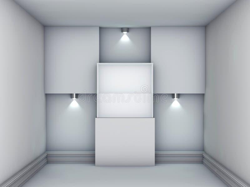 exponeringsglas 3d ställer ut och niche med strålkastarear vektor illustrationer