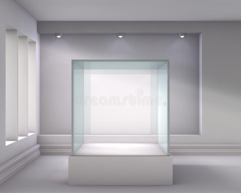 exponeringsglas 3d ställer ut och niche med strålkastarear royaltyfri illustrationer