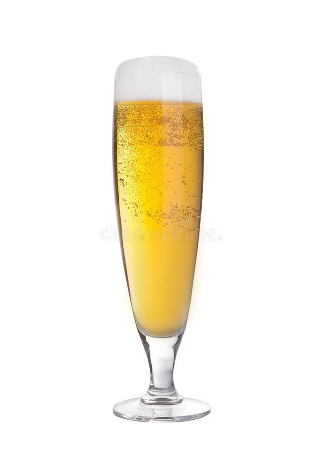 Exponeringsglas av öläppeljuice som är elegant med isolerat skum fotografering för bildbyråer