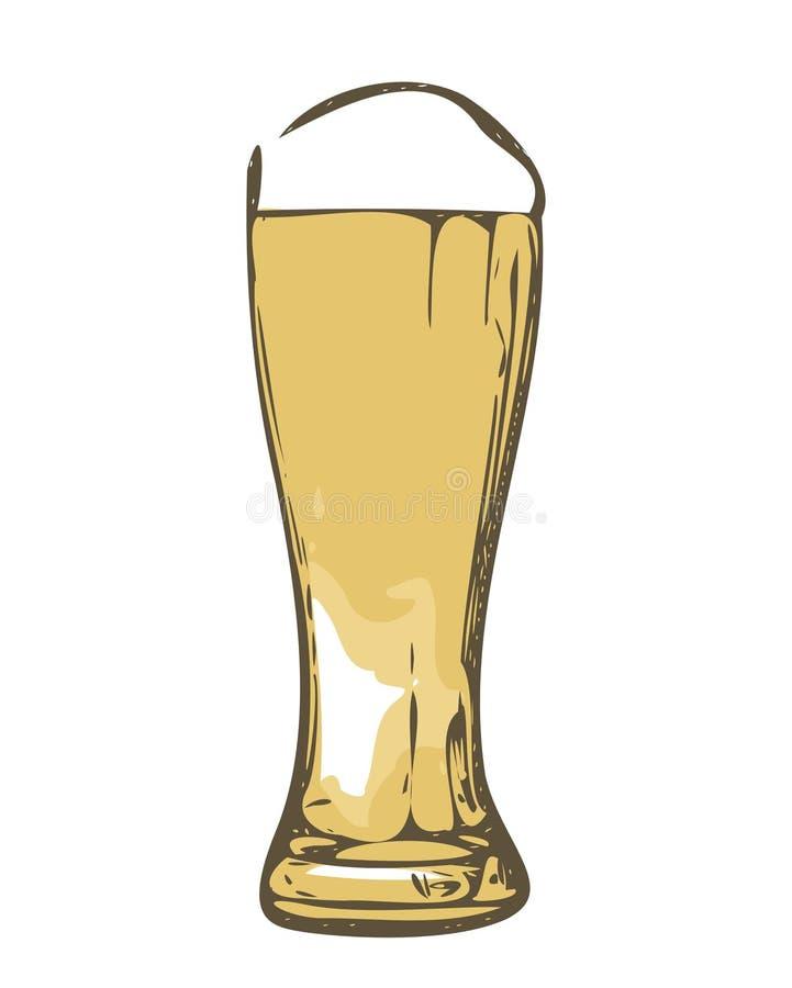 Exponeringsglas av öl skissar - isolerat stock illustrationer