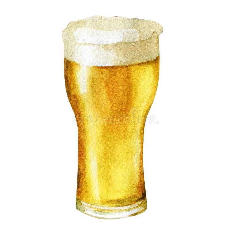 Exponeringsglas av öl som dras av vattenfärgen och färgpulver Hand dragen vattenfärgillustration vektor illustrationer