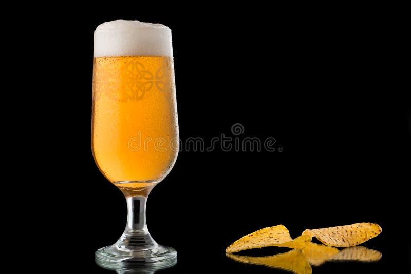 Exponeringsglas av öl som isoleras på svart bakgrund royaltyfri bild