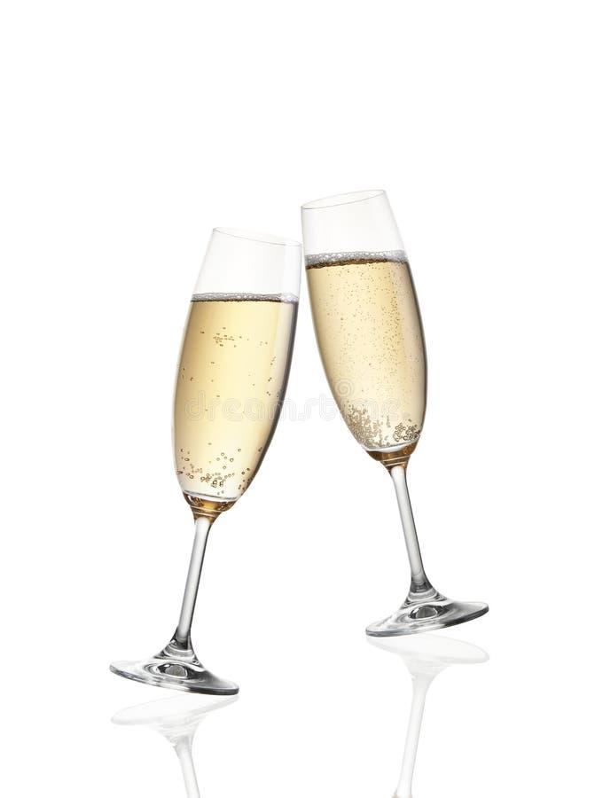 Exponeringsglas av berömrostat bröd med champagne royaltyfri foto